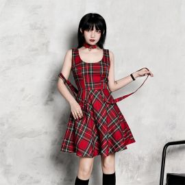 Red punk style checkered dress