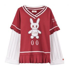 Red bunny shirt with pleated hem