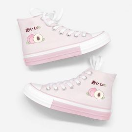 Pink japanese peach patterned sneakers