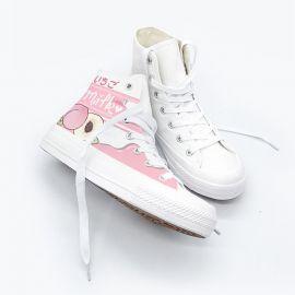 Kawaii pink peach milk sneakers