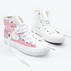 Kawaii pink peach milk sneakers