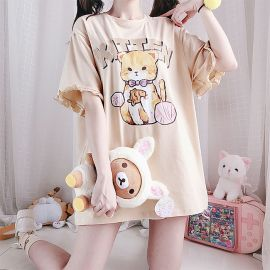 Yellow kitten T-shirt with ruffled sleeves