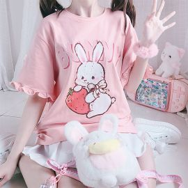 Cute pink bunny T-shirt with ruffled sleeves