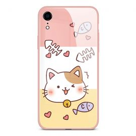 Tricolor fishbone cat iPhone case