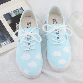 Light blue cloud patterned sneakers