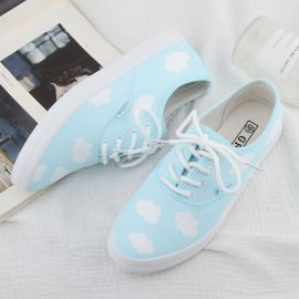 Light blue cloud patterned sneakers