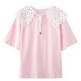 Pink T-shirt with lace shoulders