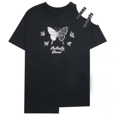 Black butterfly dance T-shirt with shoulder traps