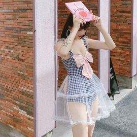 Plaid lolita swimsuit with bow
