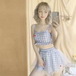 Light blue checkered swimsuit with skirt