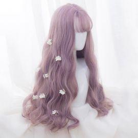 Cosplay long light purple wig with bangs