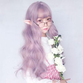 Cosplay long light purple wig with bangs