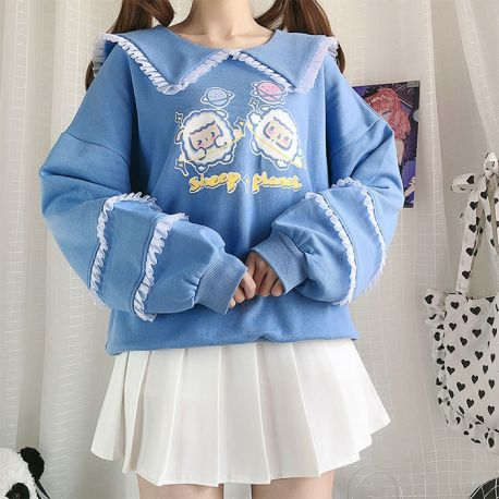 Sheep Planet blouse with ruffled sleeves