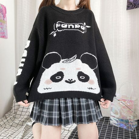 Black & white panda patterned sweater