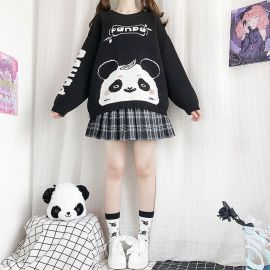 Black & white panda patterned sweater