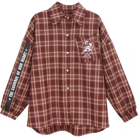 Vinröd rutig Harajuku-skjort