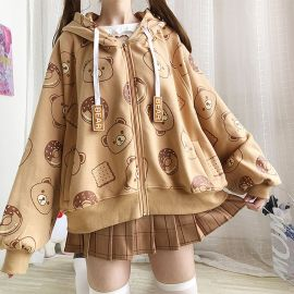 Light brown bear doughnut hoodie