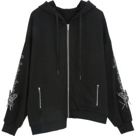 Black hoodie with butterfly sleeves