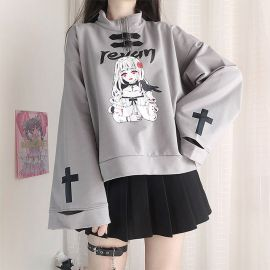 Grey anime style blouse with leather straps
