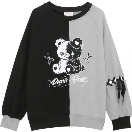 Dark Bear sweater with braided sleeve