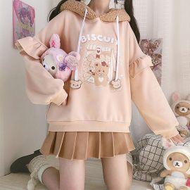 Beige Biscuit Bear hoodie with ears