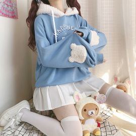 Light blue Happiness Bear hoodie with ears