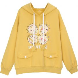 Yellow Universe hoodie with front pockets