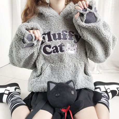 Warm Fluffy Cat hoodie with paws