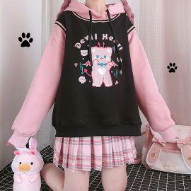 Black & Pink Devil Heart teddy hoodie