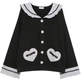 Black heart-patterned cardigan