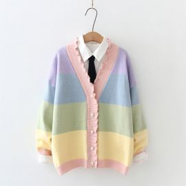 Colorful cardigan with ruffle collar