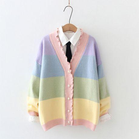 Colorful cardigan with ruffle collar