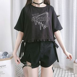 Black denim shorts with heart strap