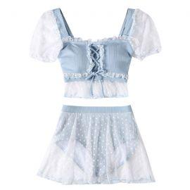 Light blue two piece lolita swimsuit