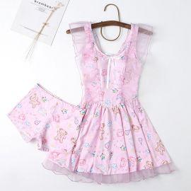 Pink Lolita dress style swimsuit