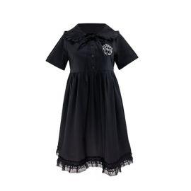Long black lace collar dress