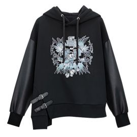 Black hoodie with side straps