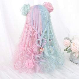 Cosplay long pink-turquoise wig with tails