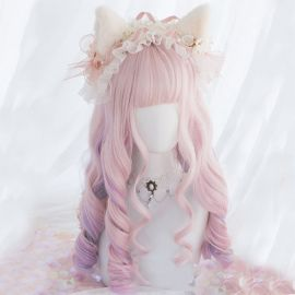 Cosplay long pink-purple curly wig