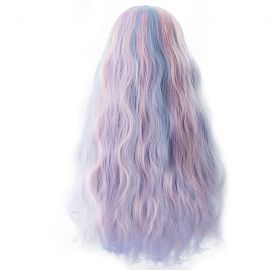Cosplay long pink-light blue curly wig