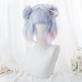 Cosplay short light purple wig with tails
