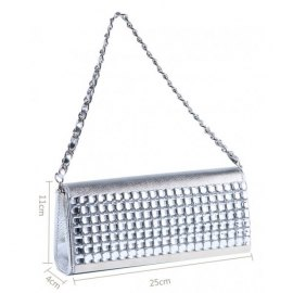 Women's small shoulder bag with diamonds