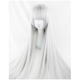 Cosplay pitkä valkoinen suora peruukki otsatukalla