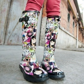 Women's colorful rubber boots