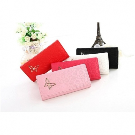 Women's long wallet with butterfly ornament