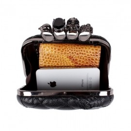 Women's elegant skull clutch bag with knucles