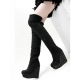 Women's black thigh boots with rivets