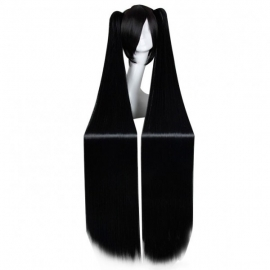 Cosplay pitkä musta suora peruukki poninhännillä