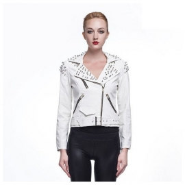 Women's rivet leather jacket