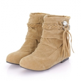 Calf suede boots with drawcord